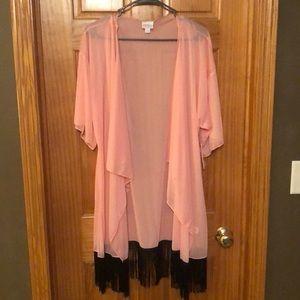 Lularoe Monroe - Blush Pink w/ Black Fringe
